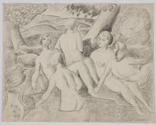 "Alfred HAGEL - Drawing-Watercolor - ""Bathing Beauties"" by Alfred Hagel, 20th Century"