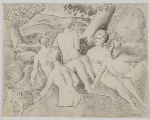 "Alfred HAGEL - 水彩作品 - ""Bathing Beauties"" by Alfred Hagel, 20th Century"