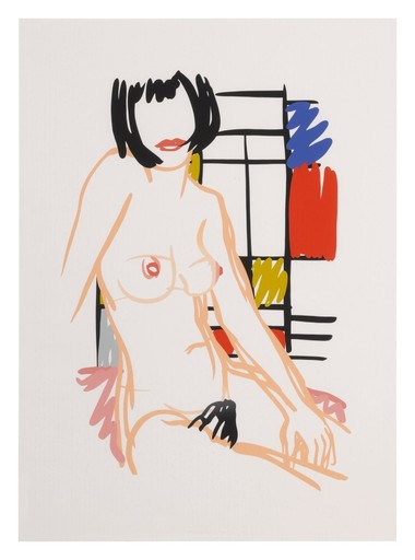 Tom WESSELMANN - Print-Multiple - Monika Sitting with Mondrian