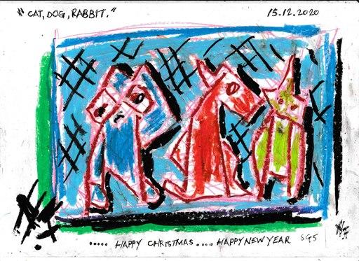 Harry BARTLETT FENNEY - Drawing-Watercolor - seasons greetings #5 (2020) cat dog rabbit