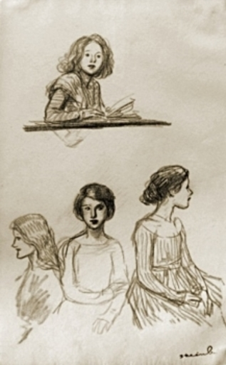 Théophile Alexandre STEINLEN - Drawing-Watercolor - Frauenstudien