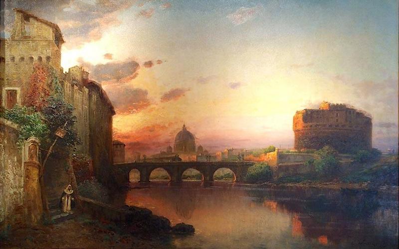 Carl WUTTKE - Gemälde - Veduta di Castel Sant'Angelo