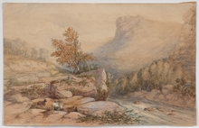 "Joseph August KNIP - Drawing-Watercolor - ""Romantical Landscape"", 1826"