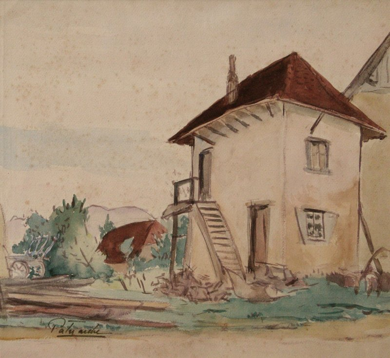Gustave PATRIARCHE - Drawing-Watercolor - FERMA A SAINT-JEAN D'AVELANNE