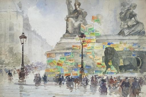 Francis GARAT - Dibujo Acuarela - PLACE DE LA REPUBLIQUE A PARIS