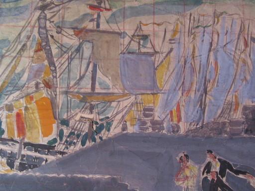 Marius WOULFART - Drawing-Watercolor - Les quais, le port