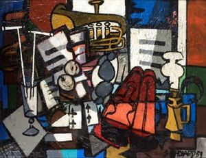Claude VENARD - Pintura - Composition au Violon