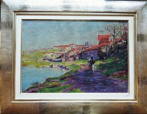 Paul THOMAS - Painting - Lavandières à Limoges circa 1905