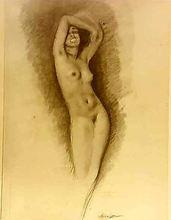 Edouard Jules CHIMOT - Dessin-Aquarelle - nu féminin