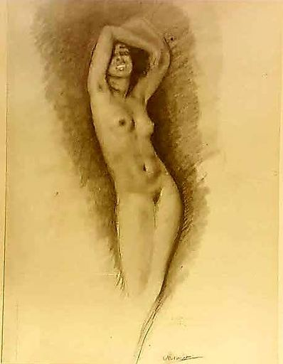 Edouard Jules CHIMOT - Drawing-Watercolor - nu féminin