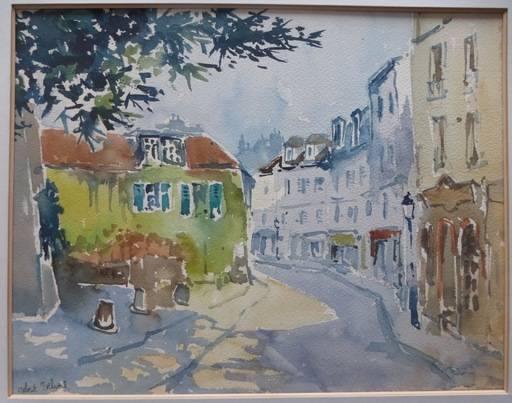 Robert DELVAL - Drawing-Watercolor - Paysage urbain