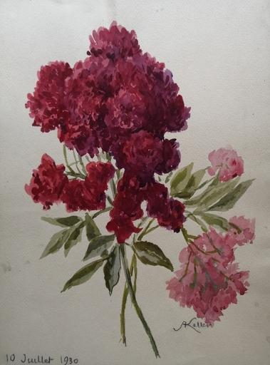 Alfred KELLER - Drawing-Watercolor - Roses