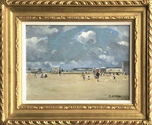 Campbell Archibald MELLON - Painting - Beach Huts On Gorleston Sands, On A June Morning