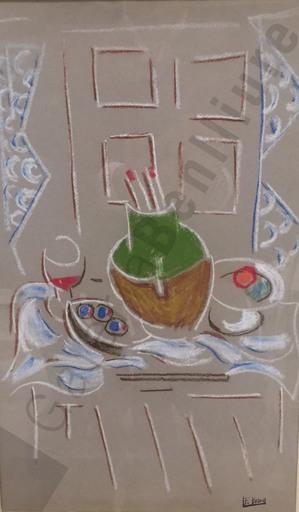 Francisco BORES - Pintura - Jarrón con pinceles