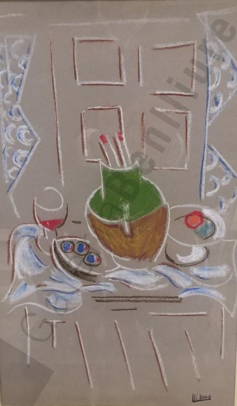 Francisco BORES - Peinture - Jarrón con pinceles