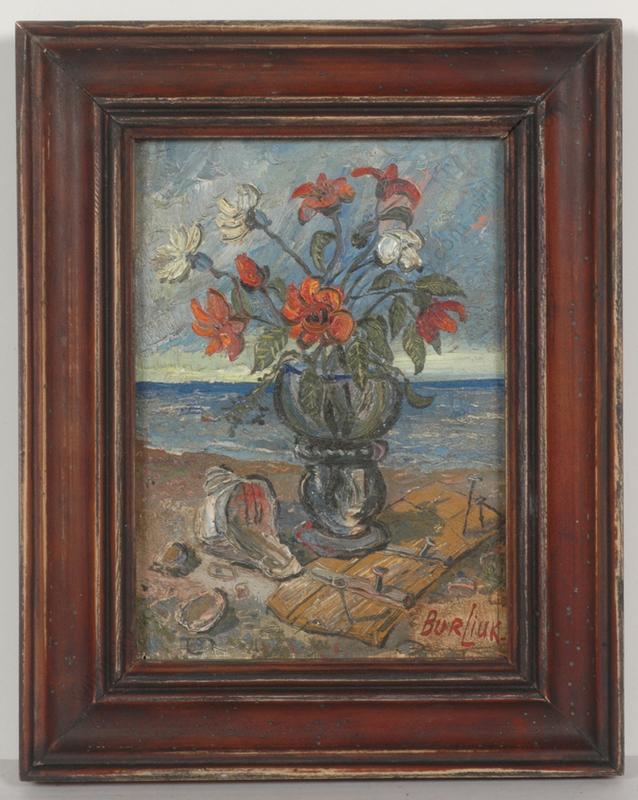 "David BURLIUK - Gemälde - ""Flowers by the sea"", small oil painting, 1950/60s"