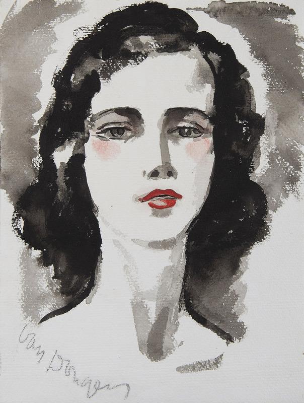 Kees VAN DONGEN - Disegno Acquarello - Portrait de jeune femme