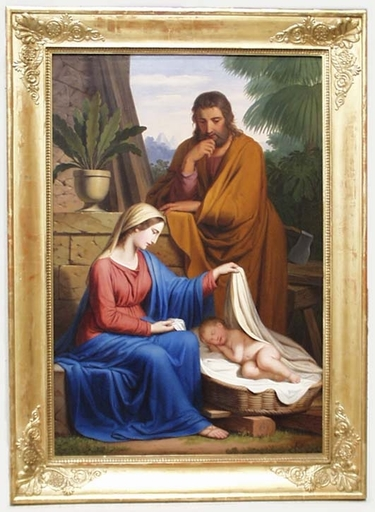 "Josef I ARNOLD - Pintura - ""Holy Family"" by Josef Arnold the Elder, Oil on Canvas"