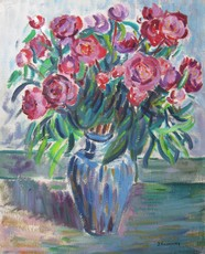 Jacob KOSLOWSKY - Pintura - Vase with Pink Flowers