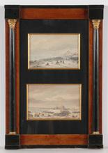 "Gaspard GOBAUT - Dessin-Aquarelle - ""Two episodes of Battle of Eylau (1807)"", ca. 1850"