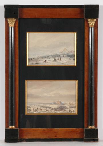 """Gaspard GOBAUT - Zeichnung Aquarell - """"Two episodes of Battle of Eylau (1807)"""", ca. 1850"""