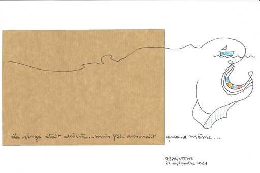 """Reine BUD-PRINTEMS - Zeichnung Aquarell - """"La plage était déserte..."""""""