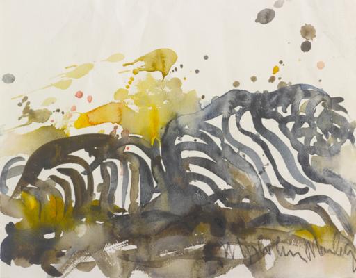Malcolm MORLEY - Dessin-Aquarelle - Sans titre-Tigres--38 x 5