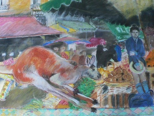 Marc SCHILDGE - Painting - Le kangourou au marché