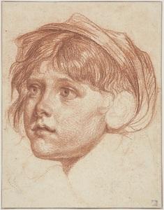 Jean-Baptiste GREUZE - Disegno Acquarello - Jeune garçon coiffé d'un bonnet