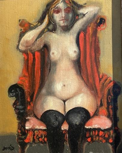 Jordi BONAS - Painting - Nu aux bas noir