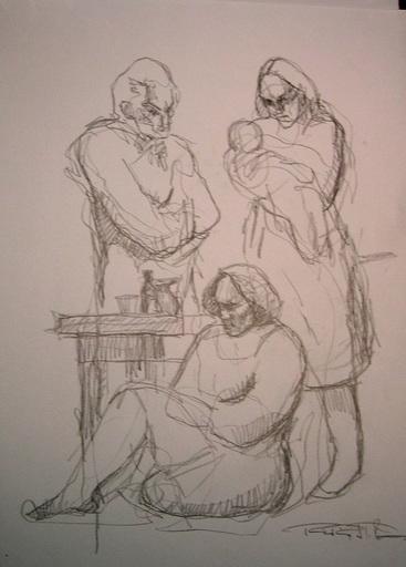 Roger PEREZ DE LA ROCHA - Dibujo Acuarela - Family