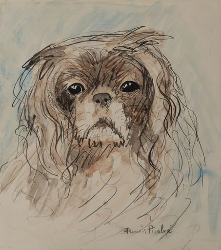 Francis PICABIA - Drawing-Watercolor - Tête de chien