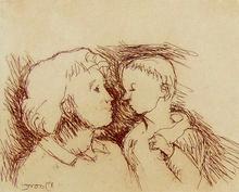 亨利•摩尔 - 版画 -  Mother and Child C