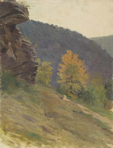 """Hugo SCHEYRER - Peinture - """"Alpine Landscape"""", Oil Painting, 1920's"""