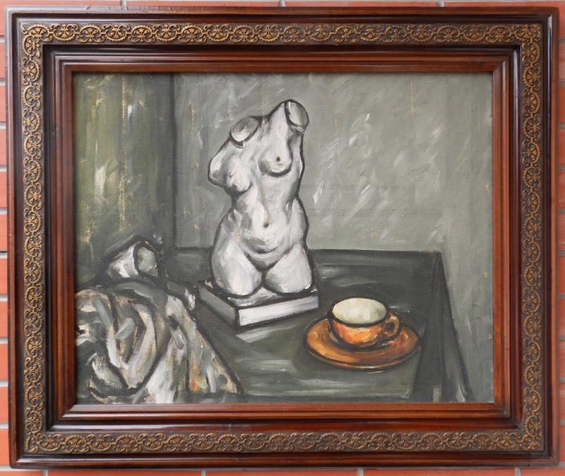 Mica POPOVIC - Painting - Still life with female torso and a cup