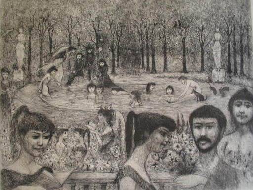 Edouard Joseph GOERG - Stampa Multiplo - Le bassin aux naïades,1956.