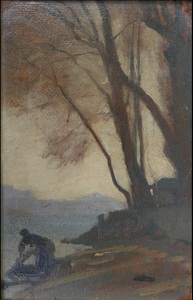François BOCION - Painting - Lavandière à Haldimand