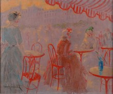 Louis ICART - Painting - CAFE PLACE BLANCHE