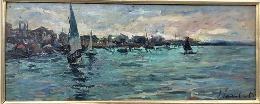 Lamberto LAMBERTI - Painting - Marina con barche a vela