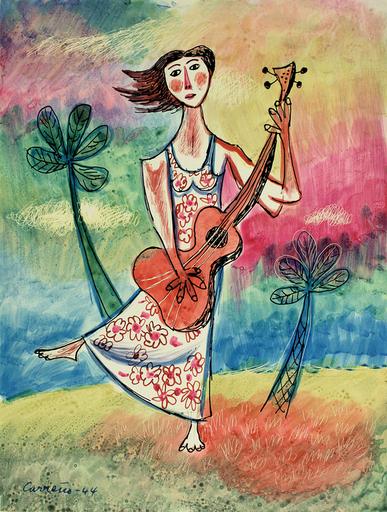 Mario CARREÑO - Pintura - Muchacha con Guitarra