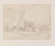 "Friedrich GAUERMANN - Dibujo Acuarela - ""Grazing Cow"", early 19th Century"