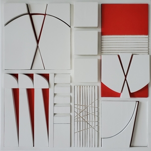 Jorge SALAS - Sculpture-Volume - White and Red Composition - Soto's Memory