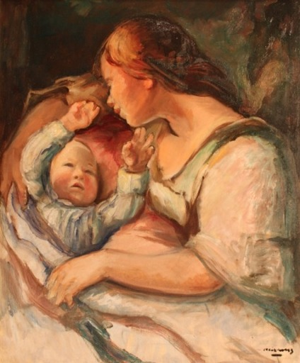 Pere CREIXAMS PICO - Painting - Maternidad