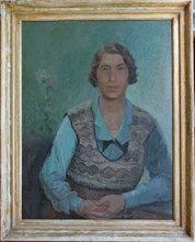 Fernand LABAT - Painting - Portrait de Madame Berr de Turique