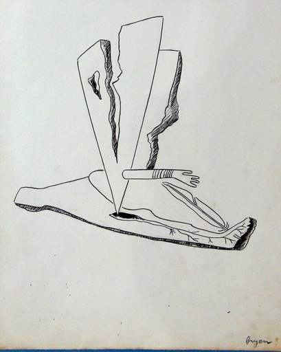 Camille BRYEN - Dibujo Acuarela - Surrealist composition with Arm (Ink)