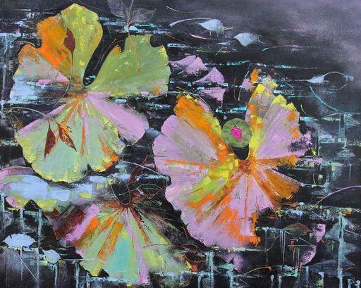 Nadine PILLON - Painting - Petit coeur sur eaux noires