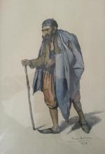 Max Léon MOREAU - Dibujo Acuarela - Juif de Tunis -