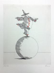 Paul FLORA - Druckgrafik-Multiple - Balance (Clown auf der Kugel)