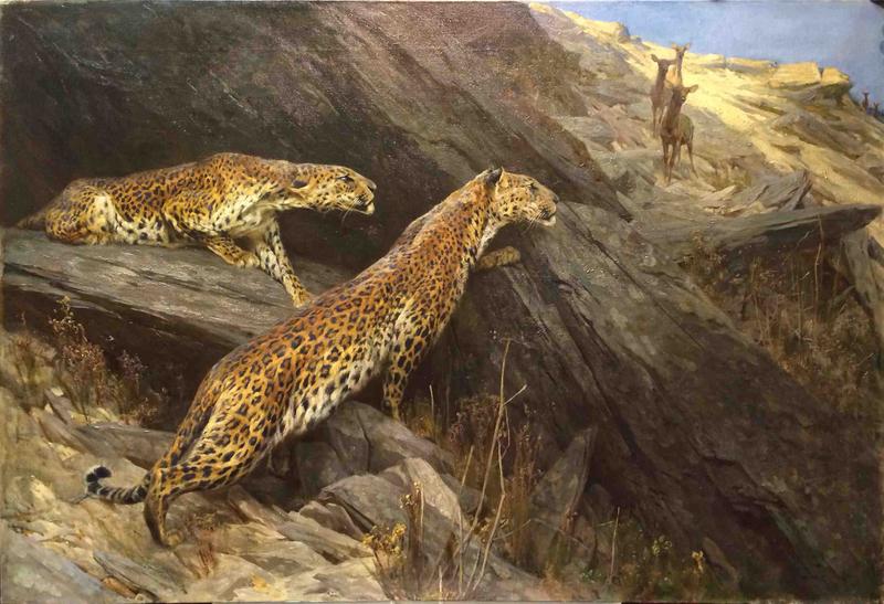 Arthur WARDLE - Painting - Léopards à l'affût