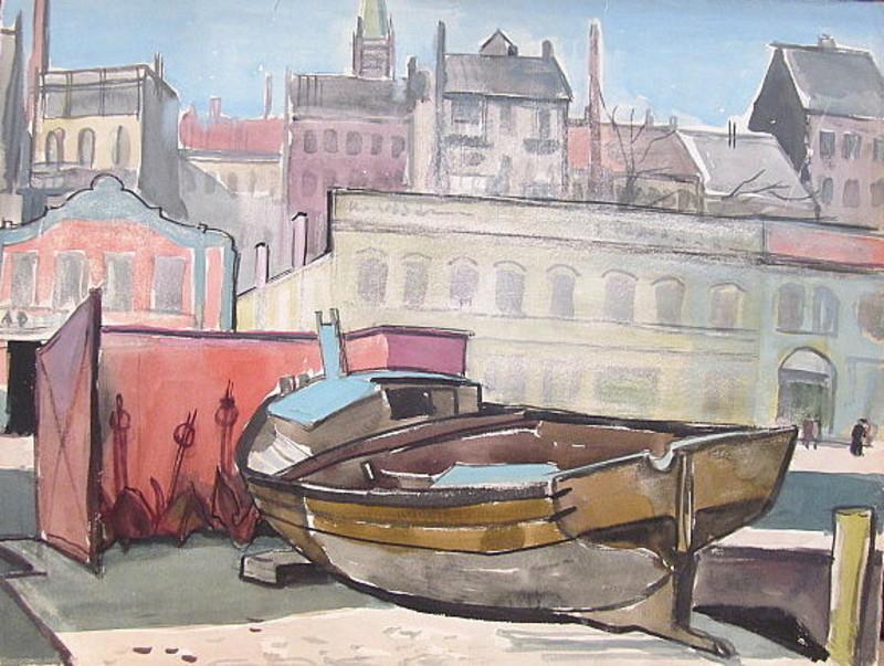 Paul MECHLEN - Drawing-Watercolor - Boot auf Helling vor Stadtsilhouette.